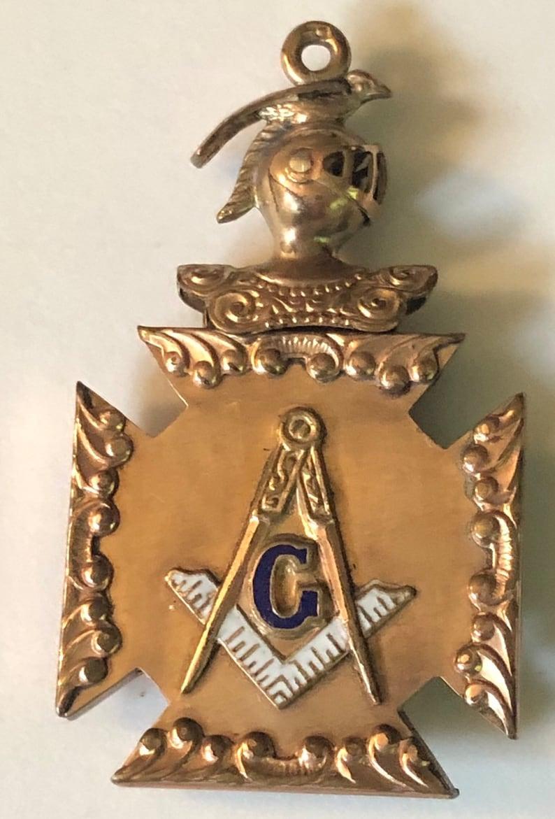 Antique Victorian Masonic Watch Fob Freemasons Medallion image 0