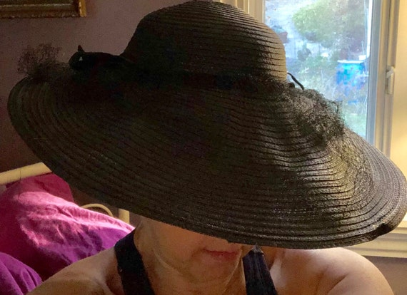 Wide Brimmed Cartwheel Hat Elegant 1940s Black Wid