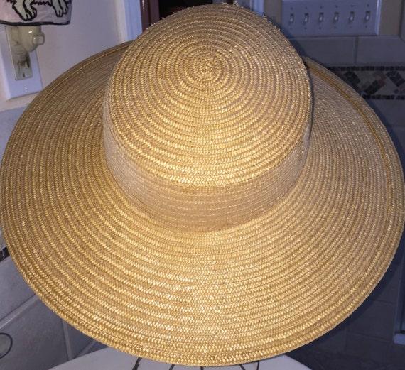 Wide Brimmed Hat Elegant 1940s Natural Straw Wide… - image 3