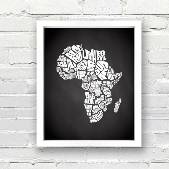 Africa Map Background.Africa Typography Map With Chalkboard Background Instant Etsy