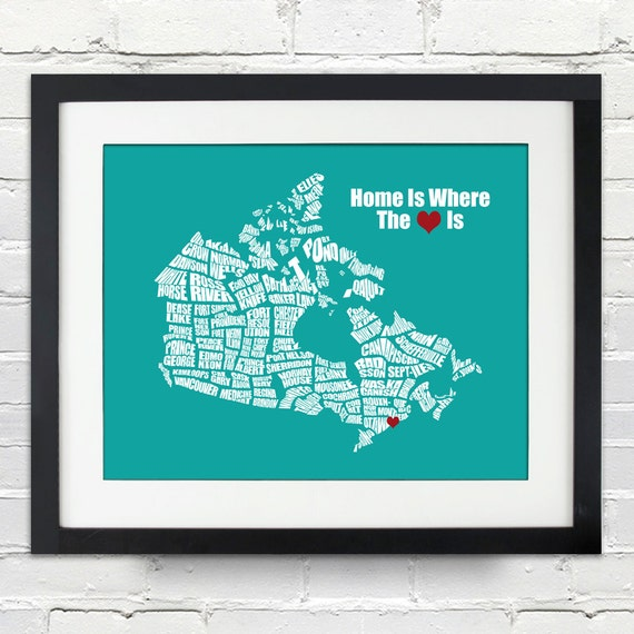 Home Is Where The Heart Is Canada Word Map Personalized Etsy