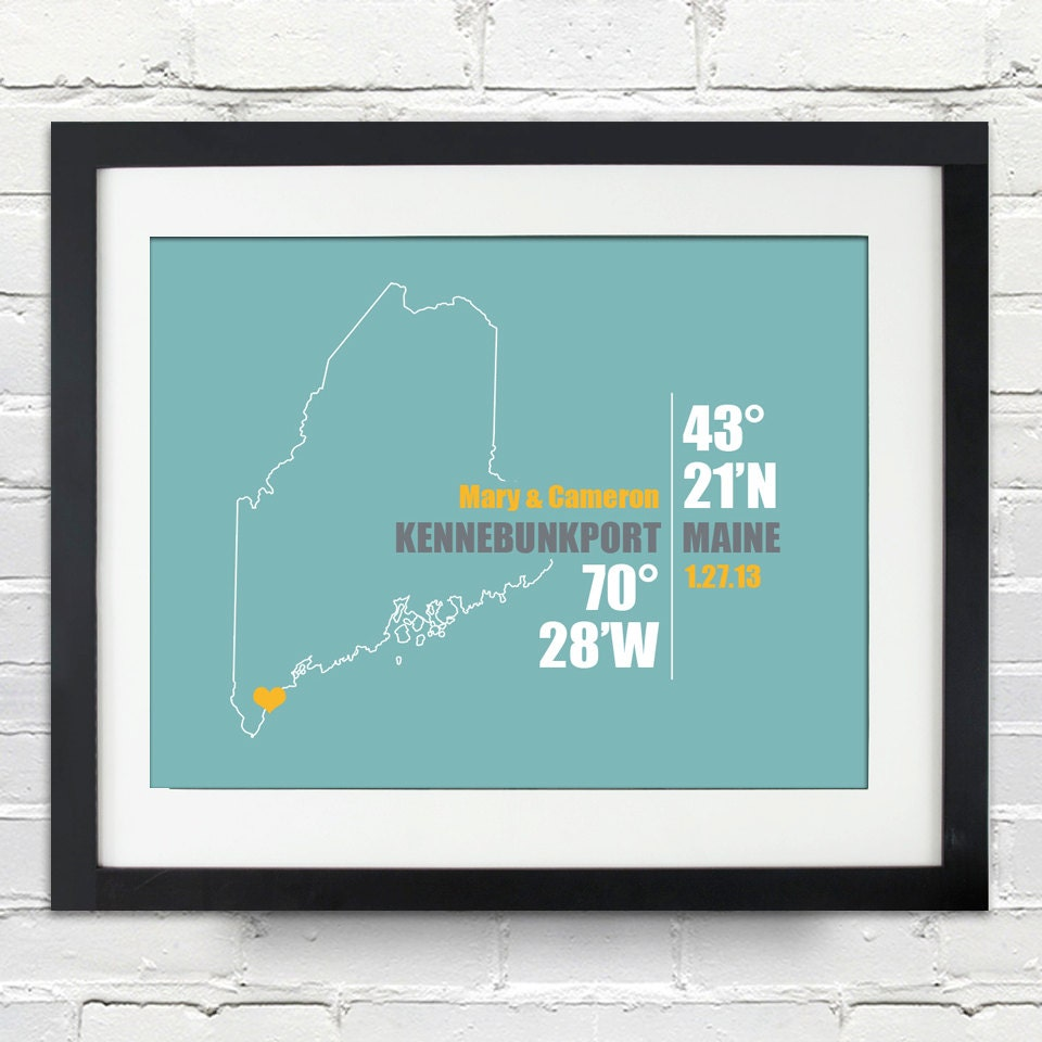 maine coordinate personalized wedding or anniversary gift map print