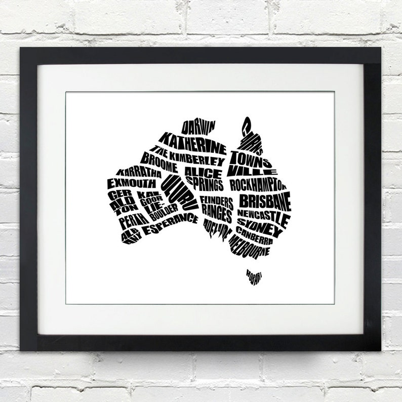 Australia Word Map.Australia Word Map A Typographic Word Map Cities Of Australia Home Decor Australian Map Black And White Canvas Or Print Moving Gift