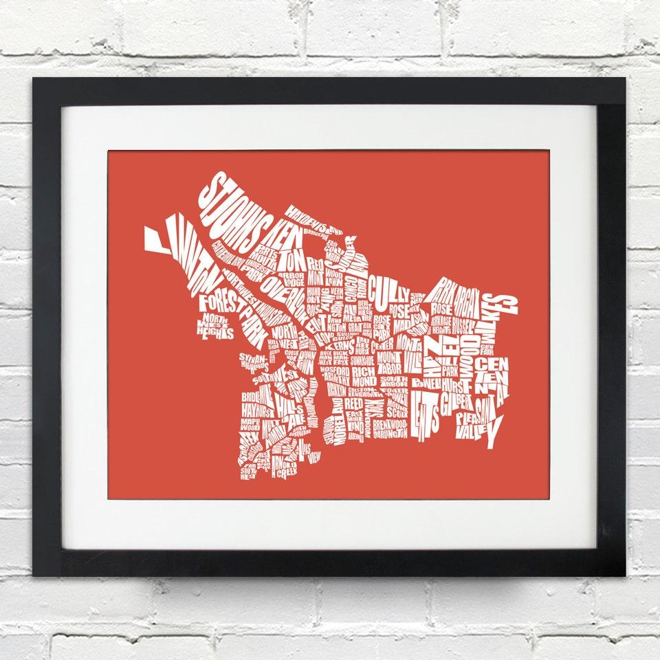 Portland Oregon Neighborhood Word Map