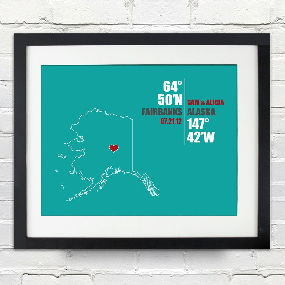 Alaska Coordinate Personalized Wedding Gift Or Anniversary Gift