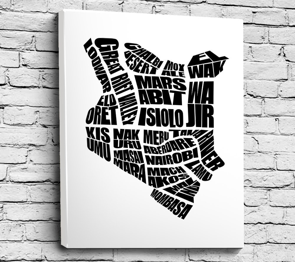Kenya Word Map A Typographic Word Map Of Kenyan Cities Home