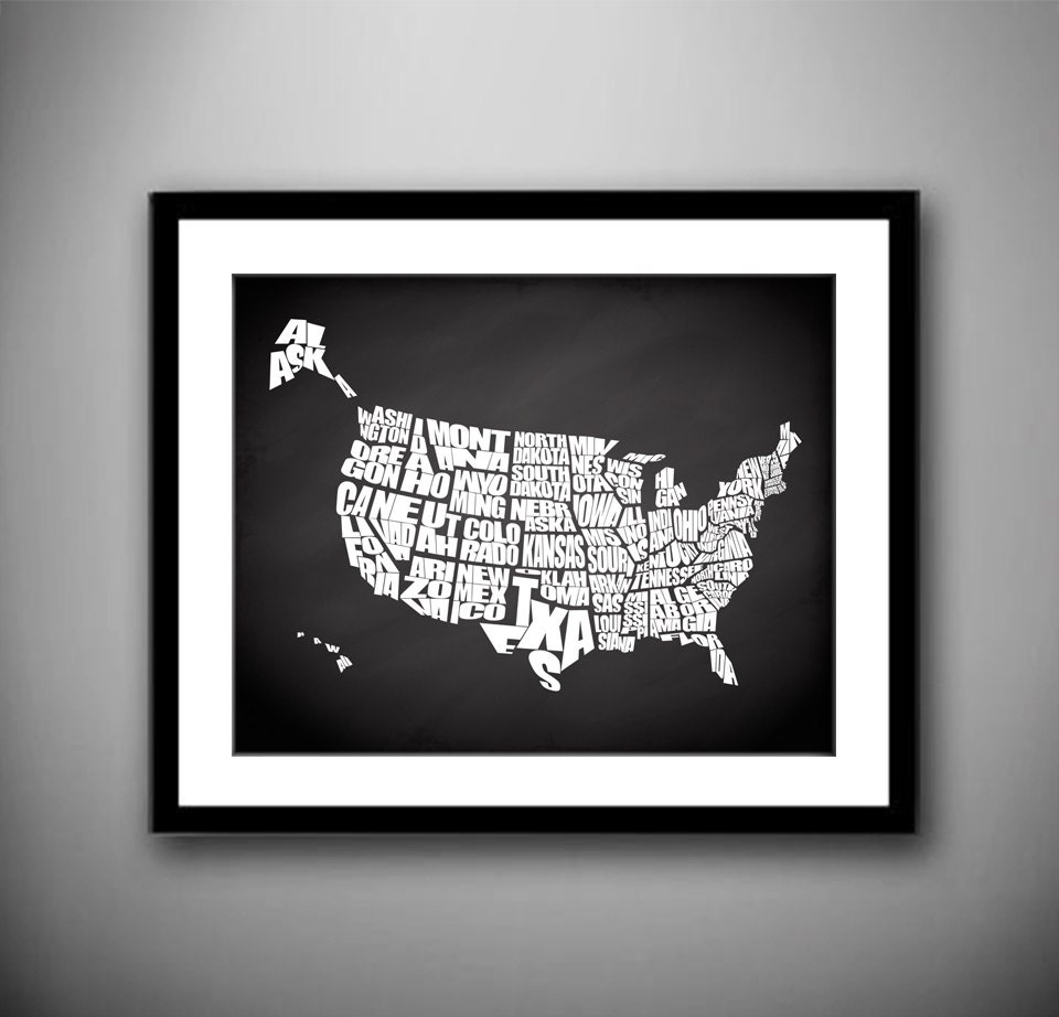 Chalkboard Usa A Typographic Text Map Of The States Of The Usa