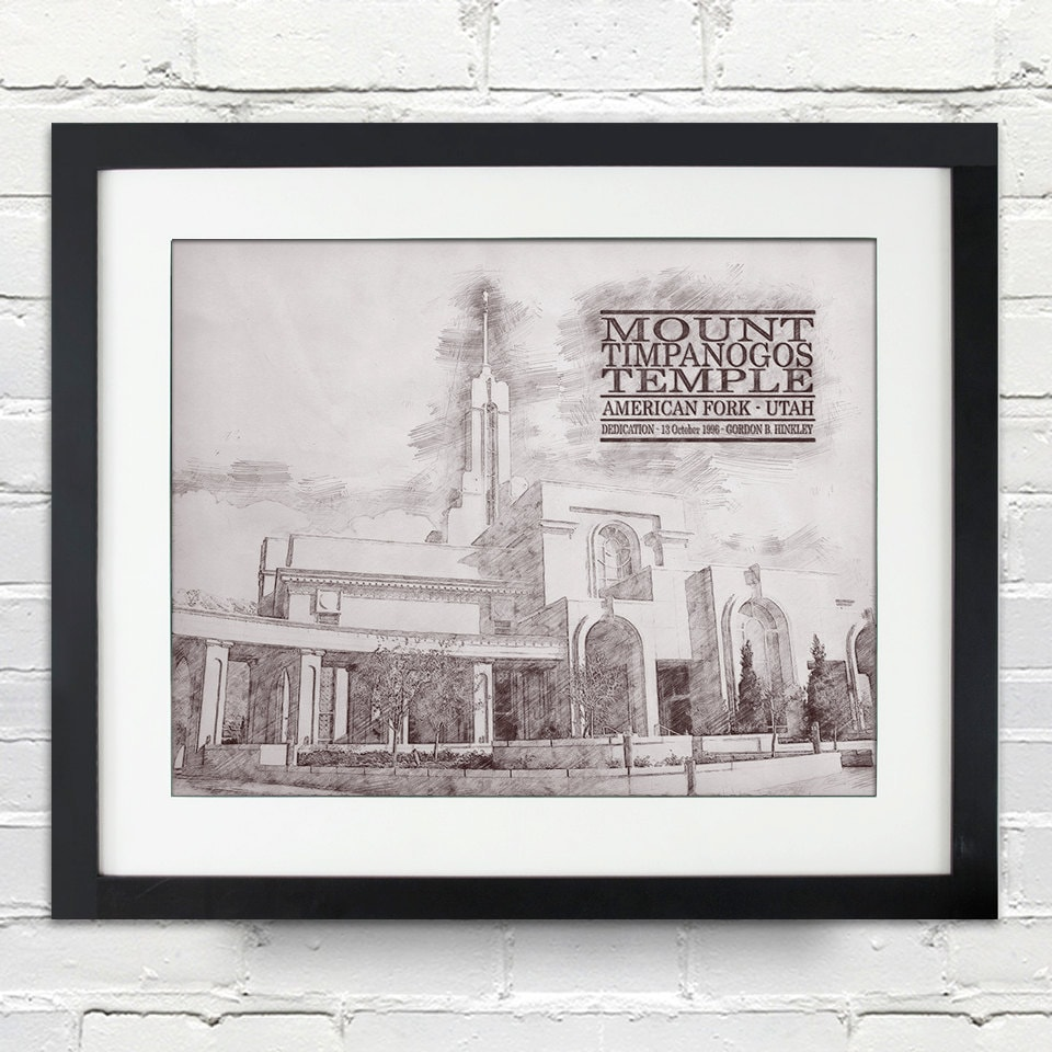 mount timpanogos temple sketch print typography poster print or