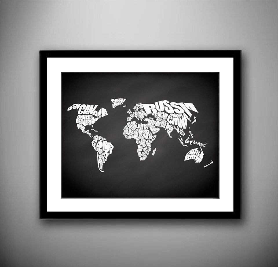 World word map on chalkboard background quote map print canvas home decor canvas typography world map stencil 1 gumiabroncs Gallery
