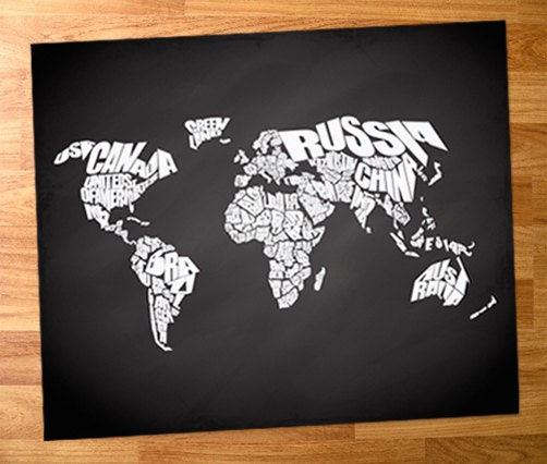 World Word Map On Chalkboard Background Quote Print Canvas Home Decor Typography Stencil