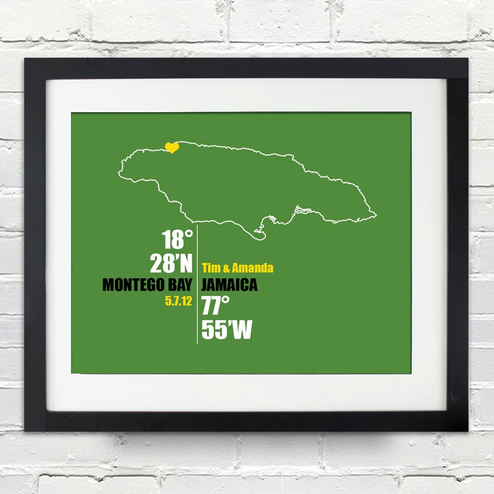 jamaica coordinate personalized wedding or anniversary gift map