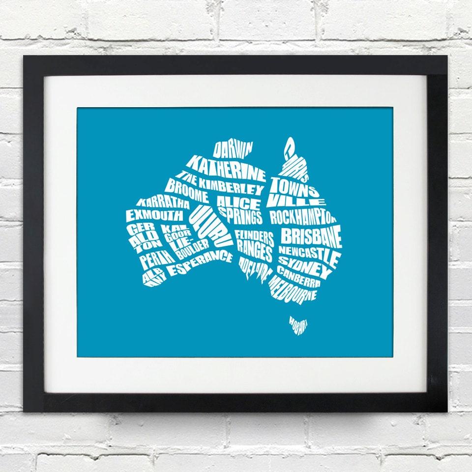 Australia Word Map.Australia Word Map A Typographic Word Map Of Cities Of Australia