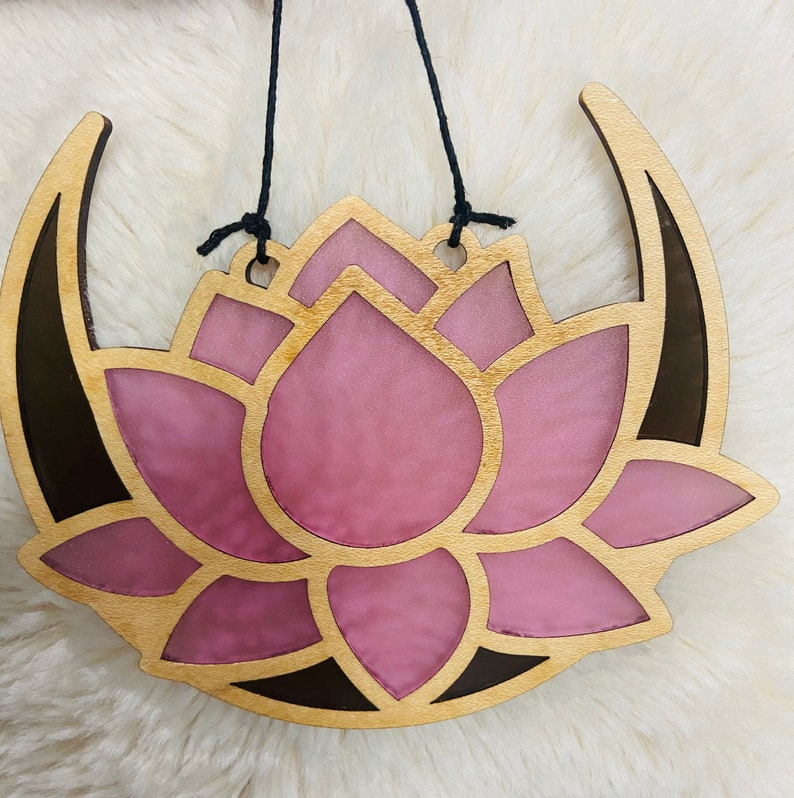 Faux Stained Glass Pink Lotus and Moon Sun Catcher Moon Lotus Window Hanging