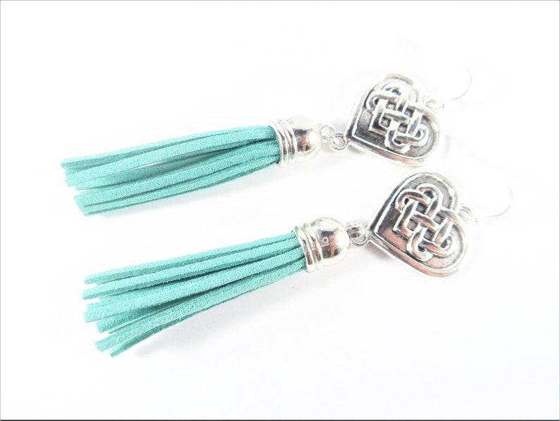 Sea Green Tassel Earrings Dangle Earrings SALE Long Earrings Heart Earrings Green Jewelry Celtic Earrings Irish Jewelry