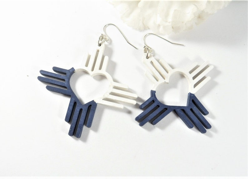 Hand Painted Dallas Cowboys Zia Heart Earrings Popular Right Now Navy and White Cowboys Football Jewelry Southwestern Style