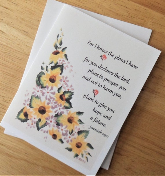 Jeremiah 29.11 NEW Cross Faith Sunflowers Flowers RELIGIOUS Greeting Card