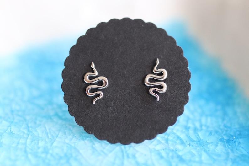 Sterling Silver Snake Earrings  Snake Studs Silver Snake image 0