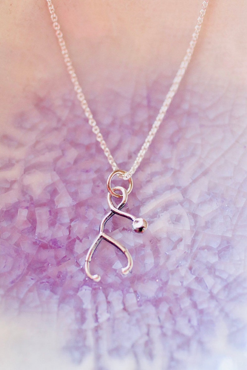Sterling Silver Stethoscope Charm Necklace   Nurse Charm  image 0