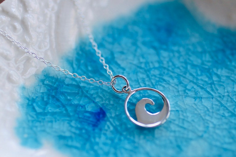 Wave Necklace   Sterling Silver Charm  Beach Charm  Beach image 0