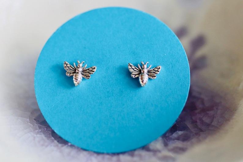 Bee Earrings  Tiny Honey Bee Studs  Honey Bee Jewelry  image 0