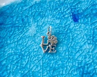 Love Paw Print Charm - Sterling Silver Paw Print - Puppy Paw Print - Dog Lover Jewelry - Dog Paw Charm  - Pet Charm - Silver Paw - Dog Lover
