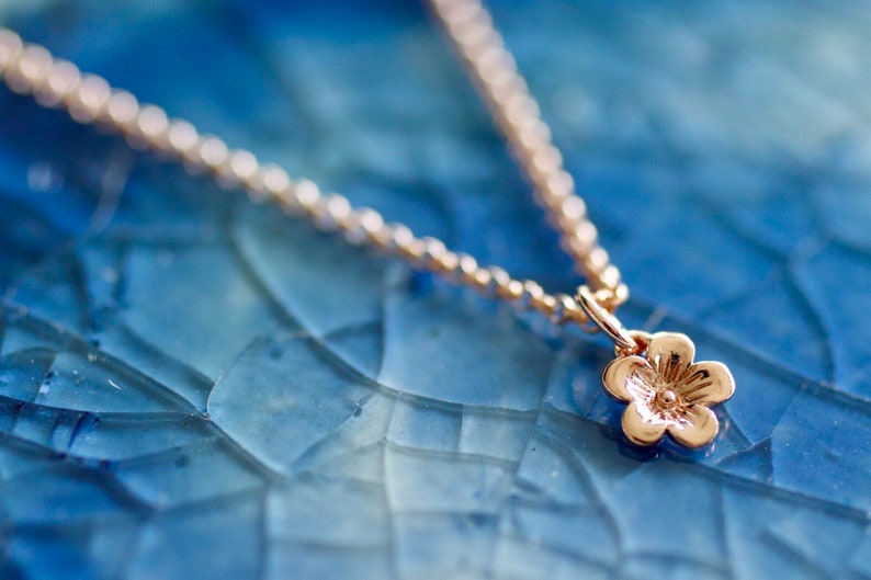 Cherry Blossom Necklace  Rose Gold Charm Cherry Blossom image 0