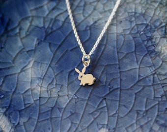 Bunny Charm Necklace  - Rabbit Charm Necklace - Sterling Silver Rabbit Charm Necklace - Bunny Jewelry - Lil Bunny Gift - Bunny Love - Bunny