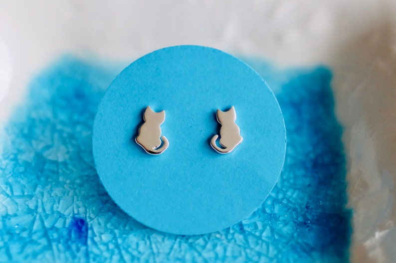 Cat Earrings   Sterling Silver Cat Studs   Kitty Earrings  image 0