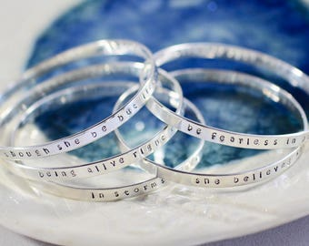 Personalized Bangle - Memorial Jewelry - Inspirational Jewelry - Sterling Silver Bangle - New Mom Gift - Mantra Bracelet - Stacking Bangle