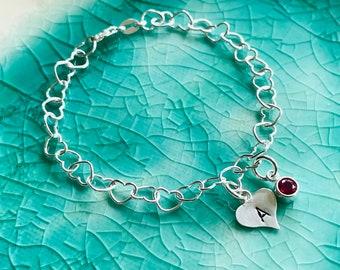 Heart Charm Bracelet - Girls Bracelet - Birthstone Initial Bracelet - Initial Bracelet - Personalized Initial Bracelet - Initial Heart