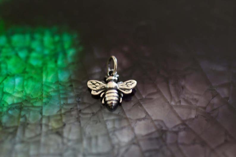 Bumble Bee Charm  Bee Charm  Queen Bee Charm   Sterling image 0
