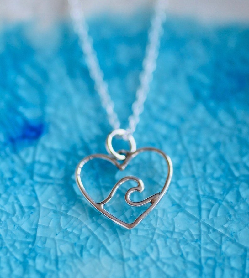 Wave Neckalce   Heart Wave  Sterling Silver Charm  Beach image 0