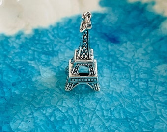 Eiffel Tower Charm - Sterling Silver Eiffel Tower - Paris Charm - Paris Themed Jewelry - Travelers Gift - Love Paris - Paris Lover Gift
