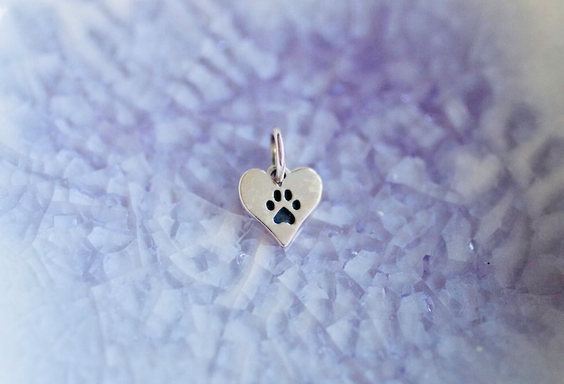 Mini Heart Paw Print Charm  Sterling Silver Paw Print  Puppy image 0