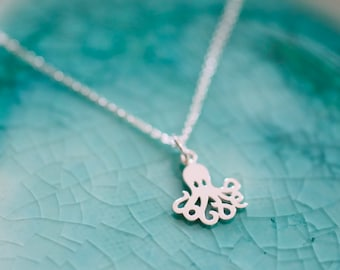Octopus Charm Necklace - Sterling Silver Octopus Charm Necklace - Beach Theme Charm - Ocean Charm - beachy Jewelry- Ocean Lover Gift