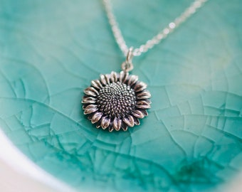 Sunflower Charm Necklace - Sterling Silver Charm Necklace - Flower Jewelry - Layering Necklace - Flower Necklace - Floral Necklace - Floral