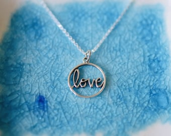 Love Necklace - Sterling Silver Mom Necklace - Cursive Script Love Necklace - Love Theme Jewelry  - Dainty Necklace - Layering Necklace