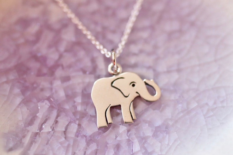 Sterling Silver Elephant Charm Necklace  Baby Elephant  image 0