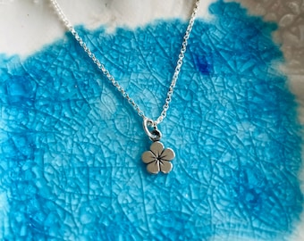 Flower Charm Necklace- Sterling Silver Flower Charm - Mini Charm Necklace- Sterling Silver Charm Necklace - Dainty Charm - Spring Flowers