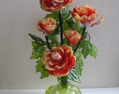 Mid Century Coral Lucite Aesthetic Flower Arrangement Vintage Acrylic Floral Retro 1960s Possibly Corelli Crystalin Unmarked
