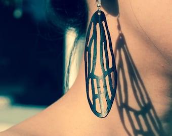 Alluring Recycled Jewelry, bike tube Dragonfly Earrings, black butterfly wings