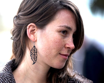 Recycled Leaf Earrings, Sterling Silver and Recycled Bike Inner Tube, nature inspired jewelry