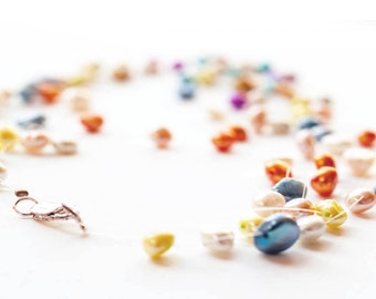 Delicious Colorful Pearl Necklace, Fun Candy colored Pastel freshwater pearl jewelry