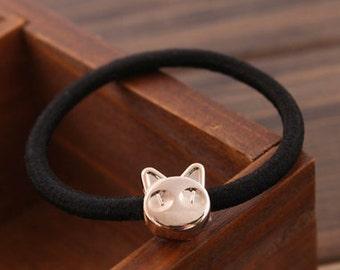 Cute Cat elastic hair tie, Kawaii light gold cat hair band