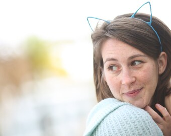 Frisky Cat Ear Headband, Kawaii kitty ears, Pick your color
