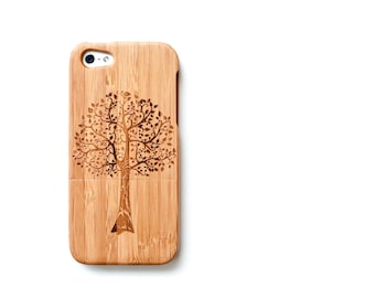Bamboo iPhone 5 Case, Tree iPhone 5 Cover, Eco Friendly bamboo fits iPhone SE, iPhone5, iPhone 5s