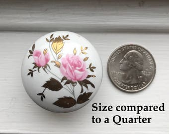 Vintage knob, hand painted rose with gold accent leaves,  cottage chic cabinet Knobs