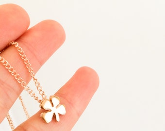 Little Four leaf clover necklace, Gold clover jewelry, 16 1/2 inches