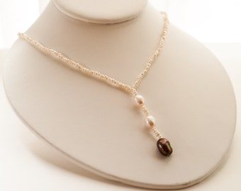 Unique Heirloom White and Brown Pearl Sterling Silver necklace Jewelry