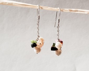 Natural Tourmaline & Freshwater Pearl Sterling Silver Earring Jewelry
